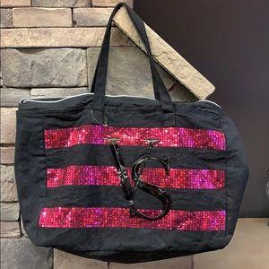 Victoria's Secret | Black Sequined Stripe Tote Bag